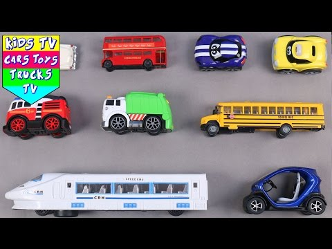 Learn Vehicles For Kids Children Toddlers Babies With School Bus Fire Engine Taxi Garbage Truck