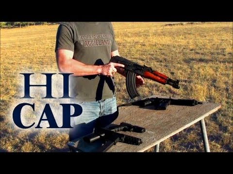 High Capacity Pistol Comparison, Glock 17, Tec-9, PLR-16, AK47 Draco