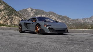 McLaren 675LT in the hills of SoCal riding on Custom Brushed Bronze BBS FI-R wheels.