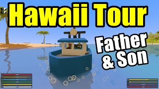 Father & Son Hawaii Map Tour of Destruction! (Unturned Hawaii Map Funny Moments)