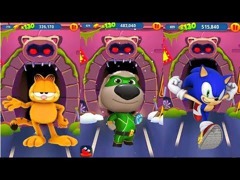 ГОВОРЯЩИЙ ТОМ ПОГОНЯ ГЕРОЕВ VS Sonic Dash соревнование против Соника, Блейз  и Гарфилда 3 серия