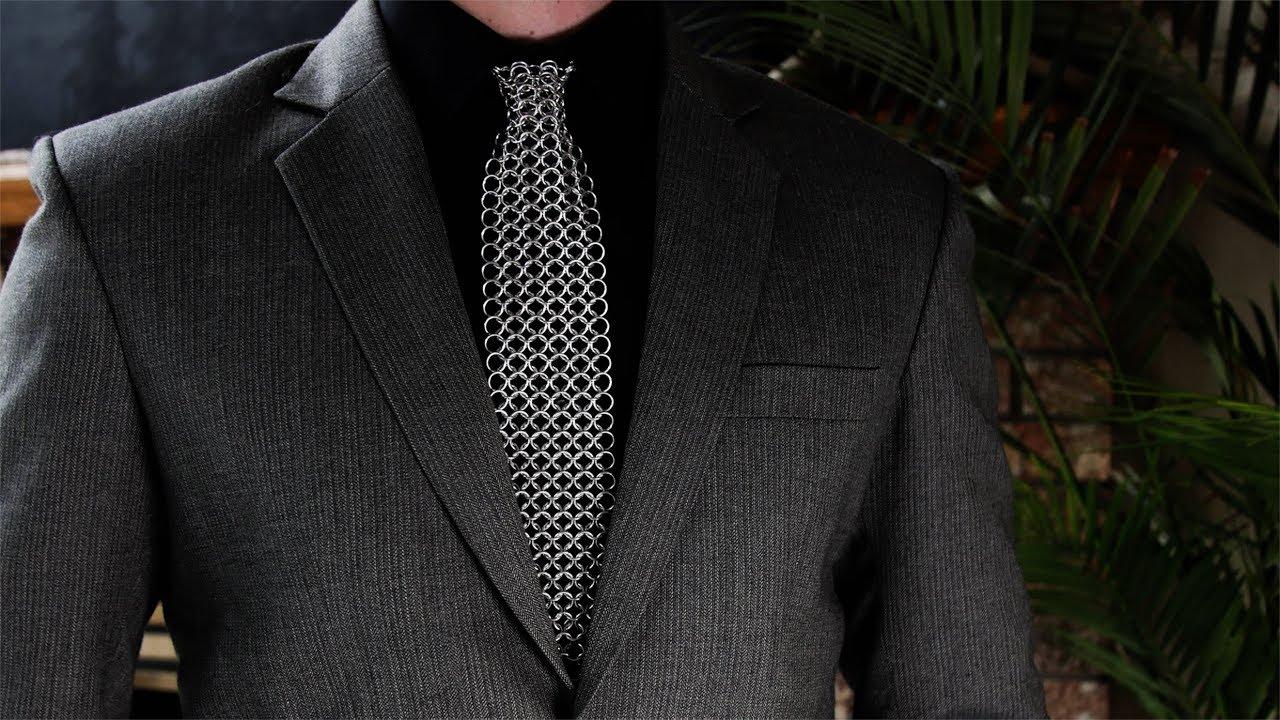 Bright Aluminum Chainmail Neck Tie