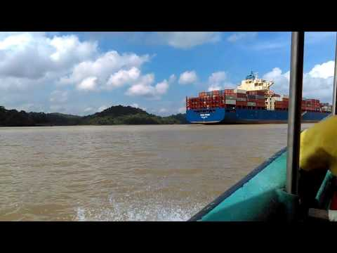 Panama Canal: Passing Texas Trader Vessel