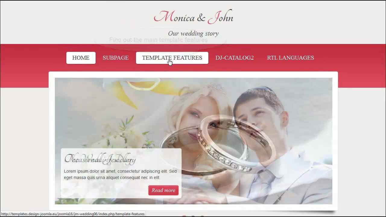 Joomla 3x 25 Template Jm Wedding06 Responsive Template Youtube