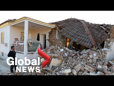 Drone footage shows damaged buildings after powerful earthquake in Greece