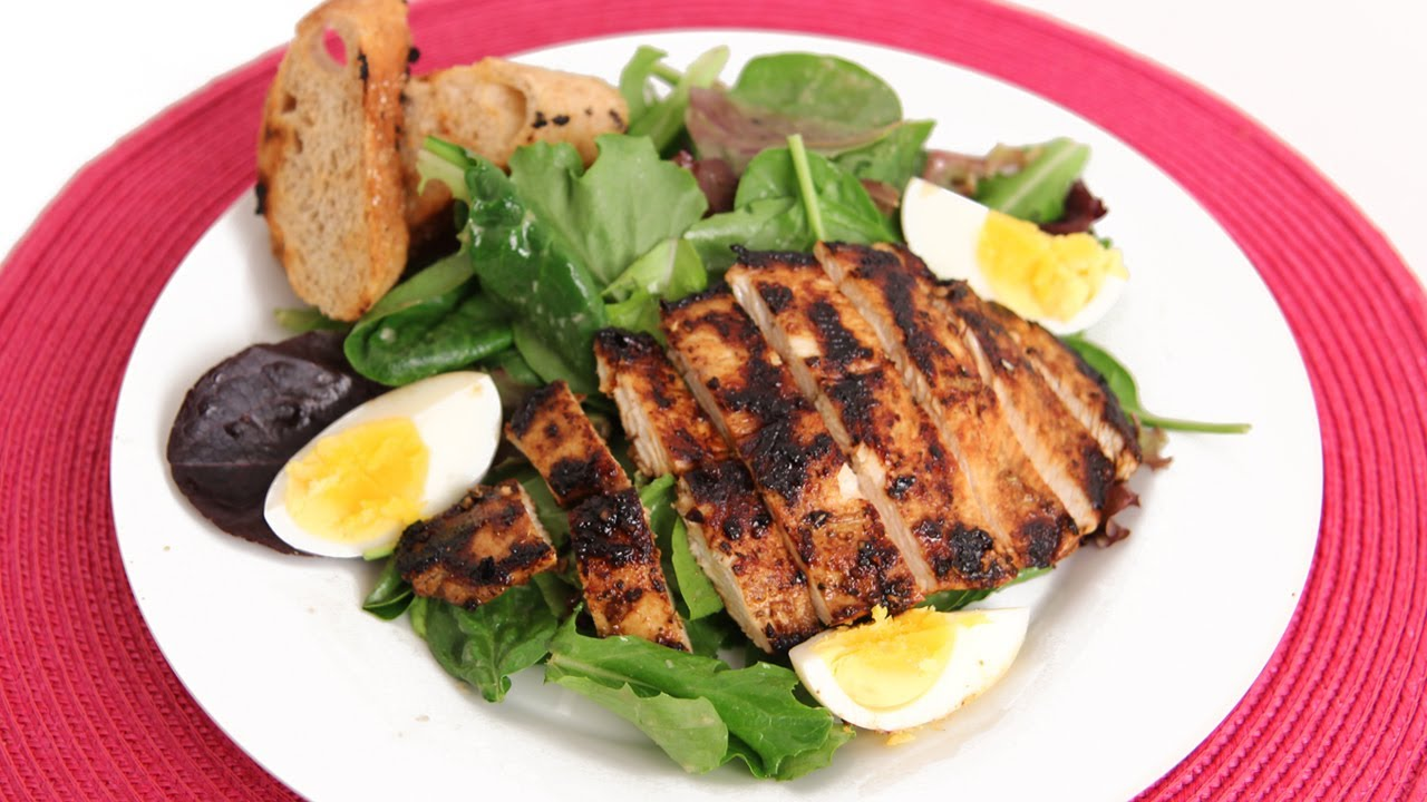 Grilled Chicken Cesar Salad Recipe Laura In The Kitchen Internet Cooking Show