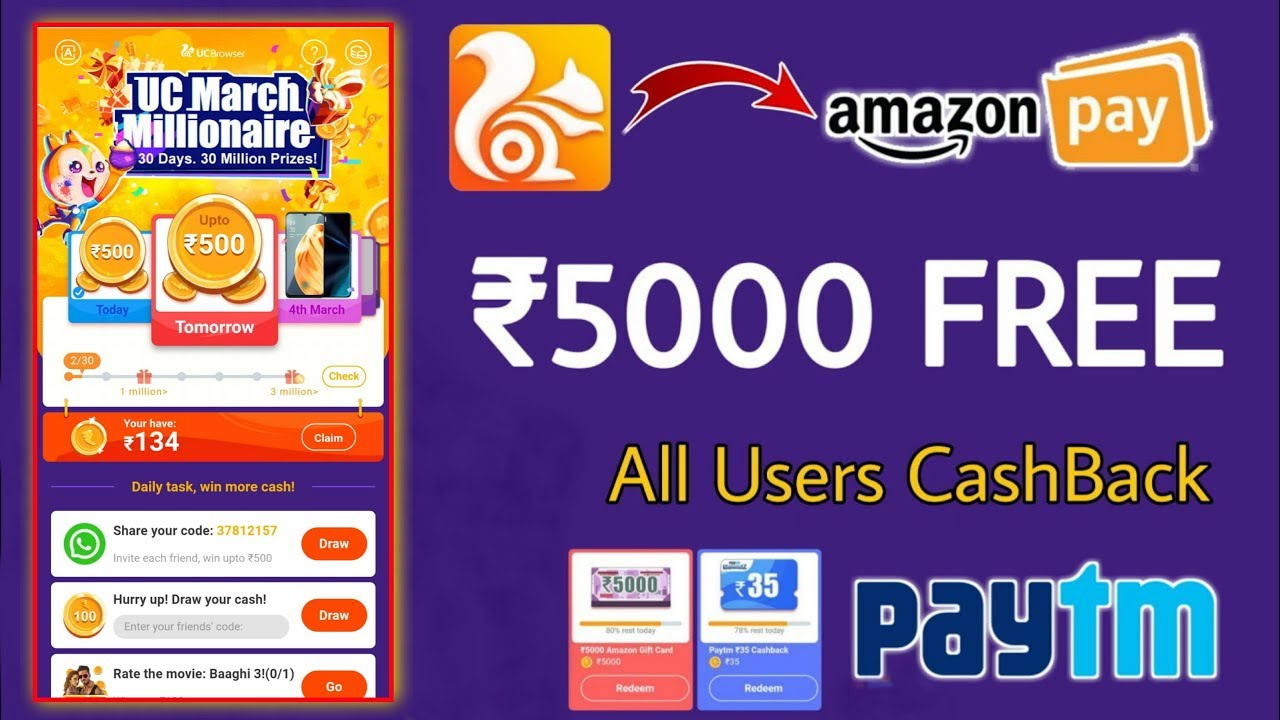 Amazon UC Browser March Millionaire Offer Amazon UC mini Offer Paytm UC Browser ₹5000 Offer 2020