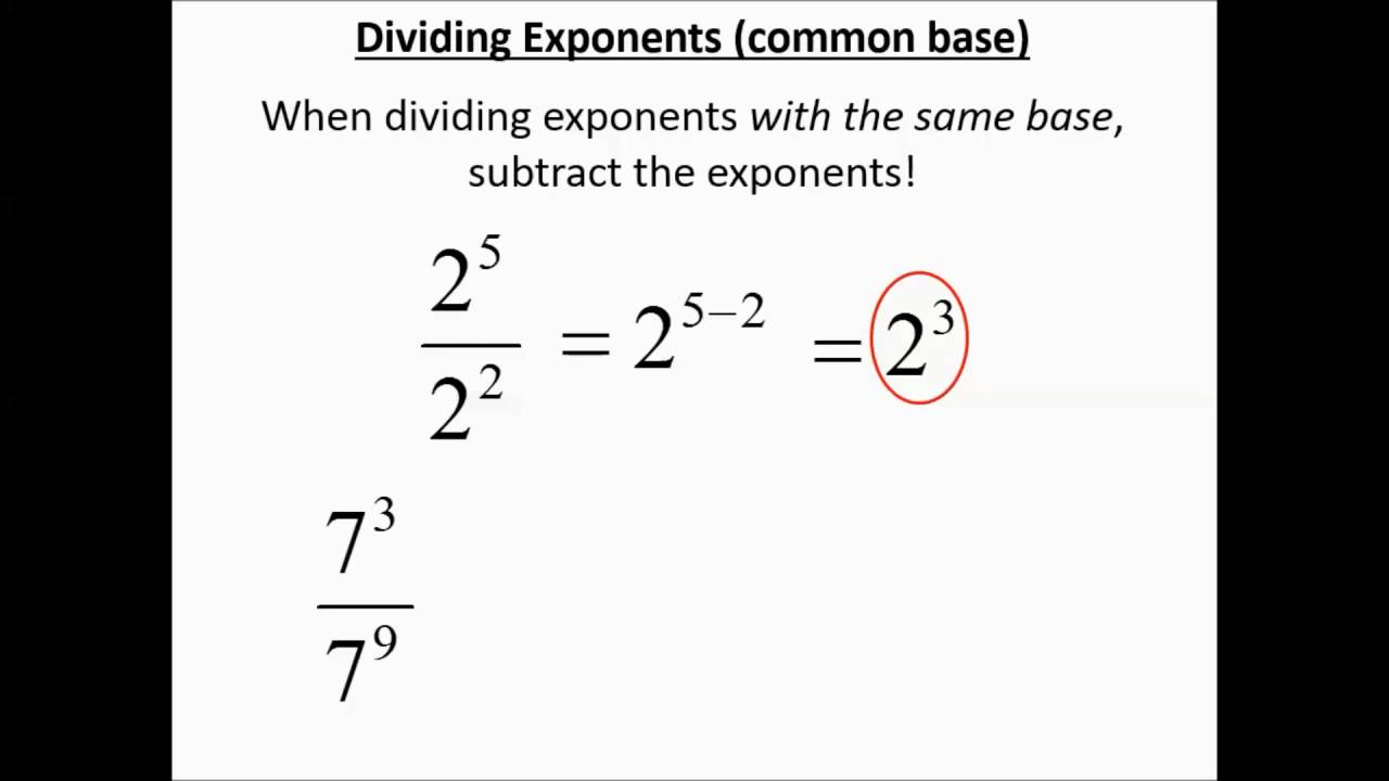 Exponents With Common Bases Multiplying And Dividing