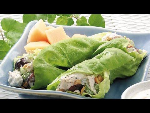 Healthy Chicken Salad Lettuce Wraps.