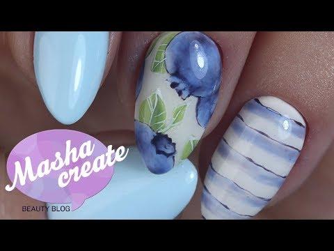 Рисунки на ногтях гель лаком. Дизайн ногтей фрукты/ягоды Голубика :) Обзор гель лаков Roxy