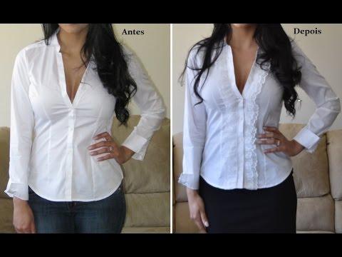 f46db82a9 Camisa customizada com renda by Customização   Cia - YouTube