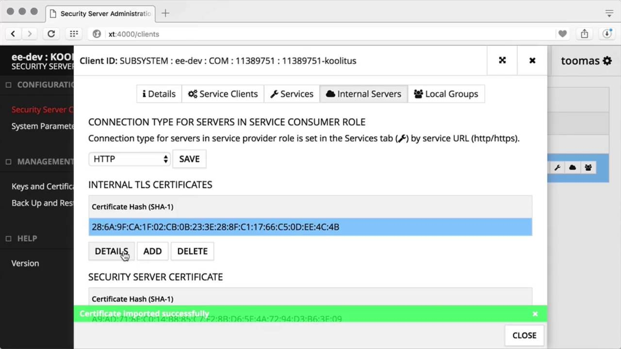 Management Of The Internal Tls Certificate Youtube