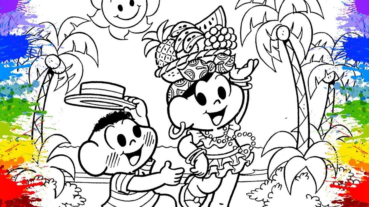 Desenho Da Turma Da Monica Magali E Cascao Carnaval 2018 Cor Paint