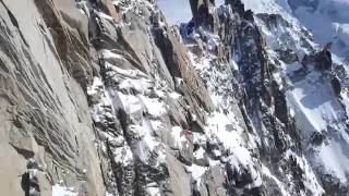 Two crazy wingsuit flyers jump off the midi chamonix mont blanc. March 24th 2016