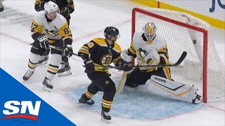 Brad Marchand Bats Puck Out Of The Air Into The Penguins' Net