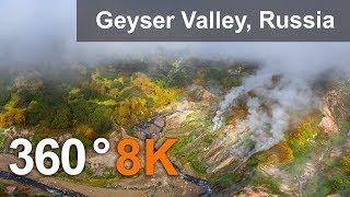 Valley of Geysers, Kamchatka, 8K aerial 360 video thumbnail