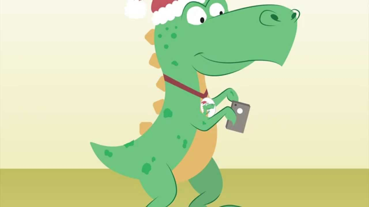 A selfie taking Trex wearing Santa Claus hat wishing you merry ...