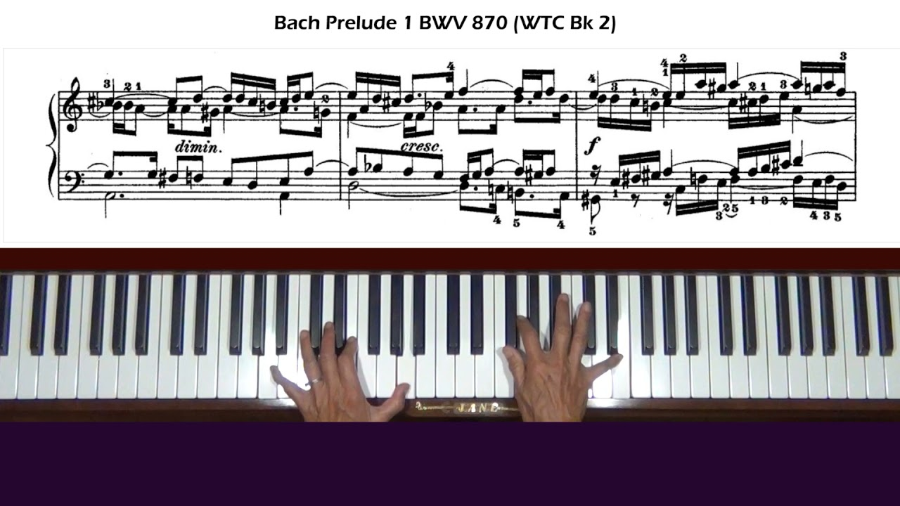 Bach Prelude 1 in C Major BWV 870 (WTC Bk 2) Piano Tutorial