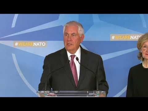 Secretary Tillerson Press Stakeout on Arrival at NATO Headquarters