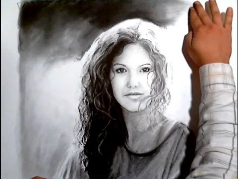 Against The Sun - Charcoal Portrait of a Beautiful Woman ...