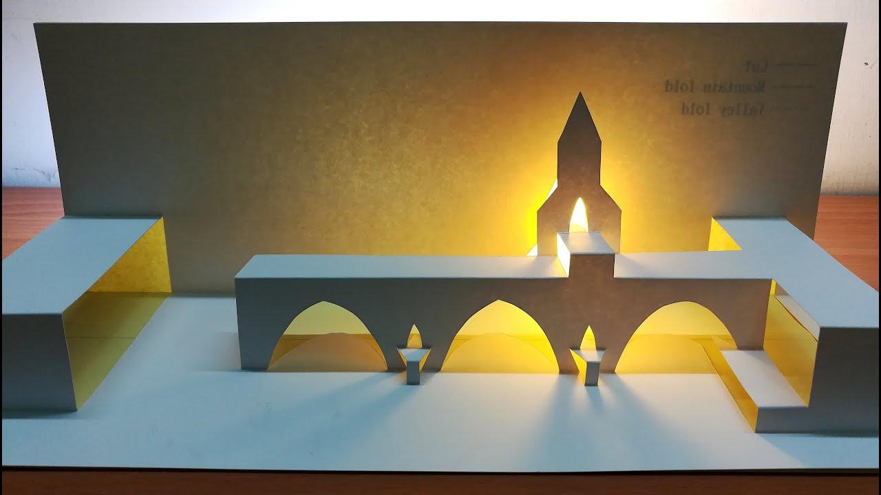 3d Pont d'Avignon card/Paper craft art/Paper Origami/Kirigami/Pop up card/3d聖貝內澤橋