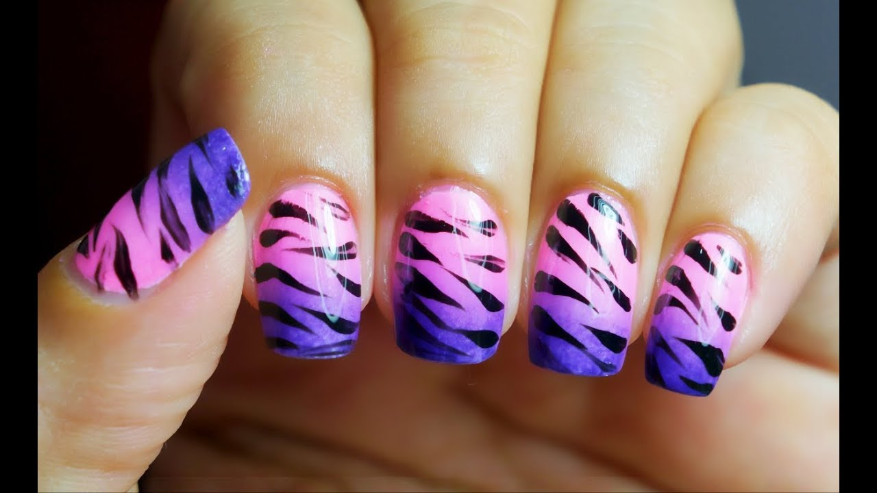 unhas decoradas degrade com zebra