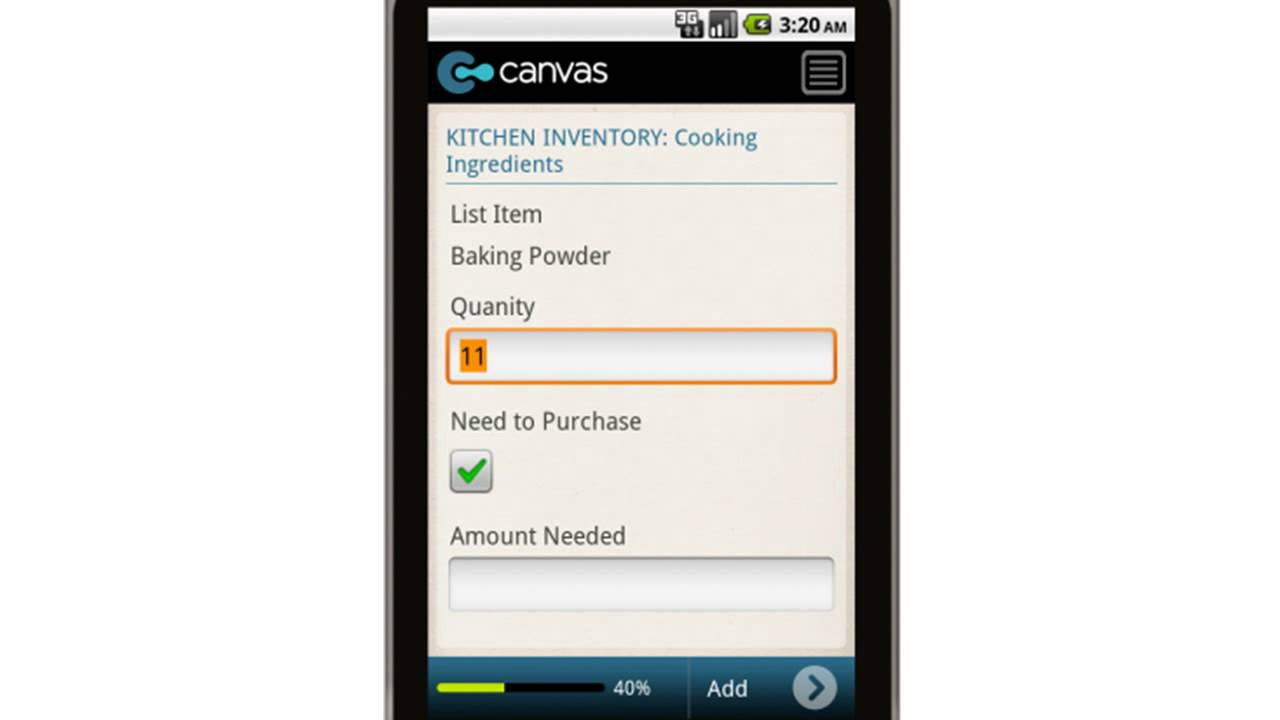 Canvas Kitchen Inventory Form Mobile App - YouTube