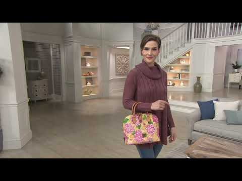 Dooney & Bourke Hydrangea Basket Weave Zip Zip Satchel Handbag on QVC