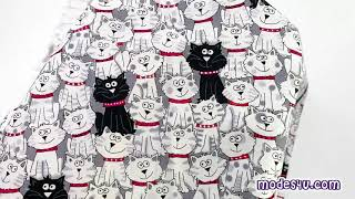 grey cat animal fabric with white and black cats by Timeless Treasures
