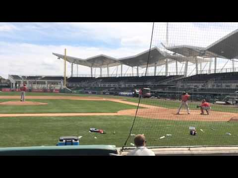 David Price throws to Rusney Castillo, Chris Young during a simulated game, Boston Red Sox spring tr
