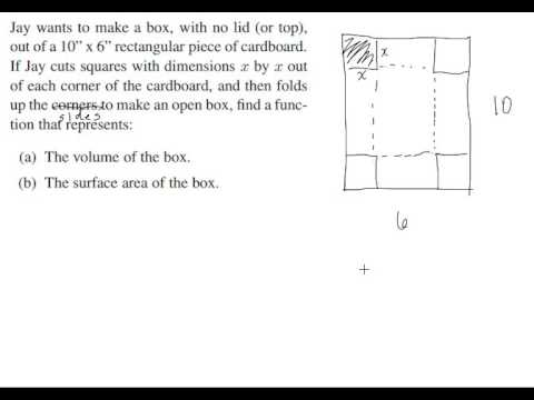 Finding Volume And Surface Area Of A Box With Cut Out Square Corners