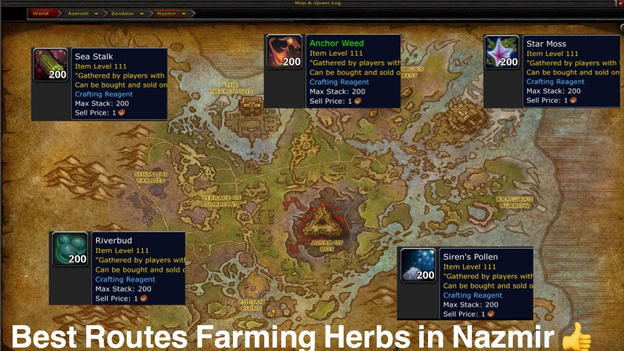 World of Warcraft: BFA Herbalism Farm  Anchor Weed, Riverbud, Siren Pollen,  etc