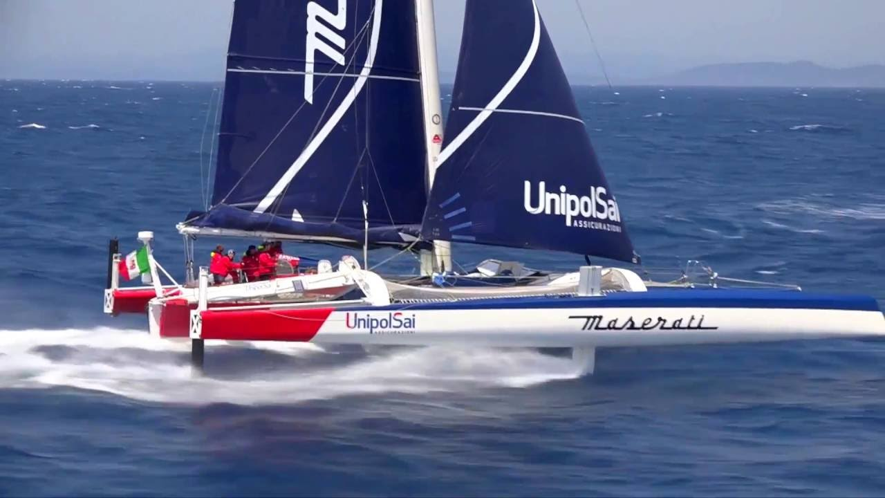 Maserati Multi70 And Giovanni Soldini In Action On The New Trimaran