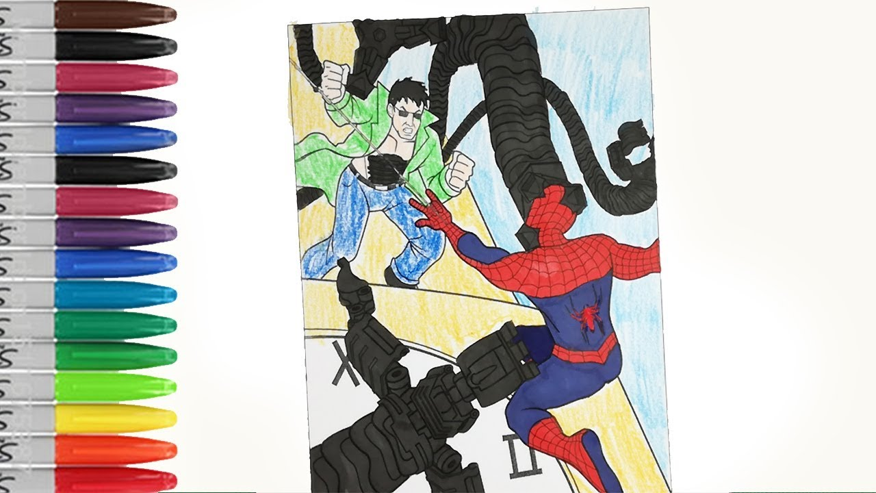 SPIDERMAN Vs Doctor Octopus Front The Clock Tower Coloring Pages SAILANY Kids