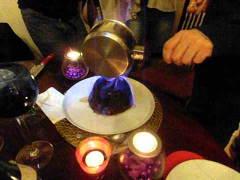 Christmas Pudding On Fire.Christmas Pudding On Fire