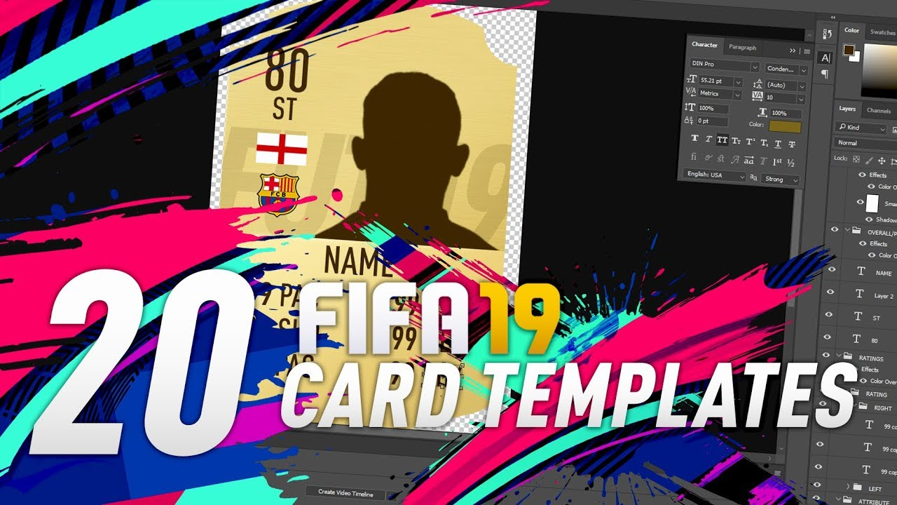 Free Fifa 19 20 Card Templates Download By Rektdesigns Youtube