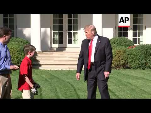 11-year-old cuts White House lawn, as Trump watches