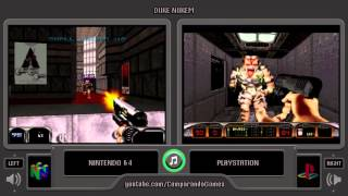 Duke Nukem 3D (Nintendo 64 vs Playstation) Side by Side Comparison