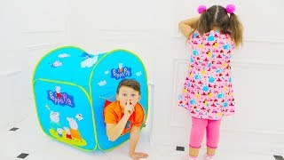 Ali and Adriana Pretend Play Hide and Seek with Playhouse Tent Toy