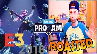 Ali-A getting ROASTED at the E3 Fortnite Event PRO AM by Announcers (Dr. Lupo and GoldenBoy)