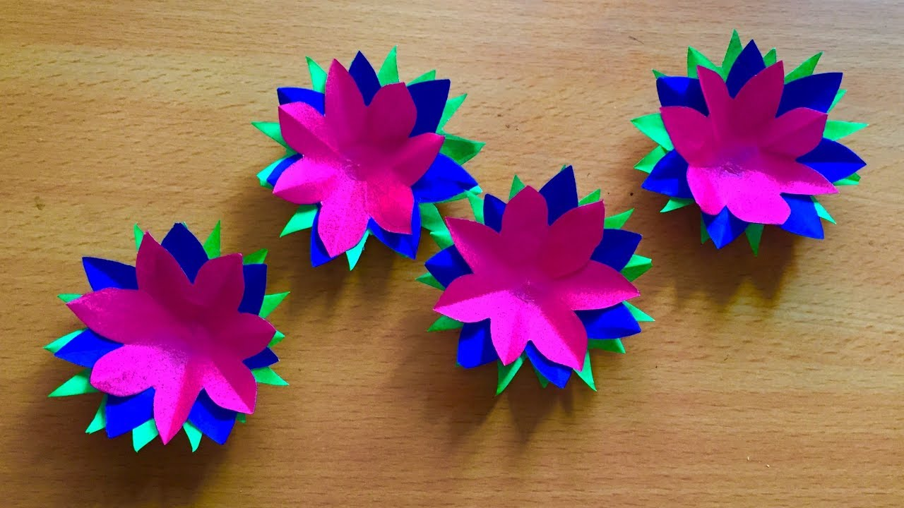 Three color paper flowers art and craft beautiful paper for Art and craft for decoration