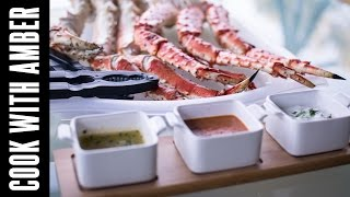 Garlic Chive Butter, Diablo Sauce, And Tartar Sauce For Alaskan King Crab | Cook With Amber