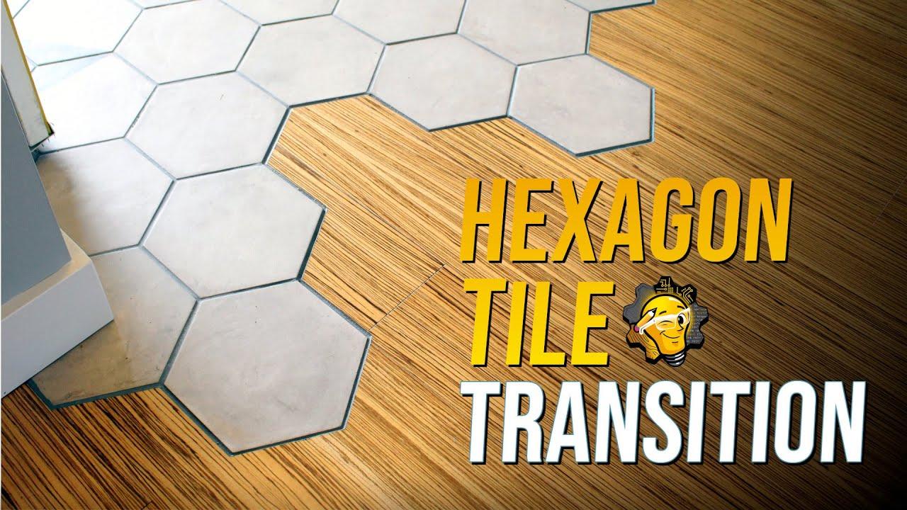 hexagon tile how to make an organic transition to hardwood floor