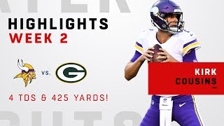 Kirk Cousins' 4 TDs & 425 Yards vs. Green Bay!