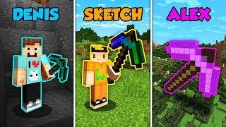 DENIS vs SKETCH vs ALEX - GIANT PICKAXE in Minecraft! (The Pals)