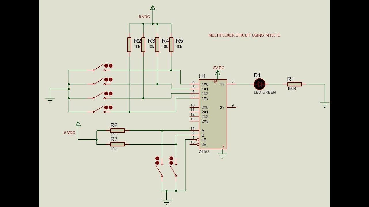 multiplexer circuit using 74153 [ 1280 x 720 Pixel ]
