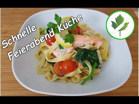 15-minuten-küche---lachs-mit-spinat-und-nudeln-/-schnelle-rezepte