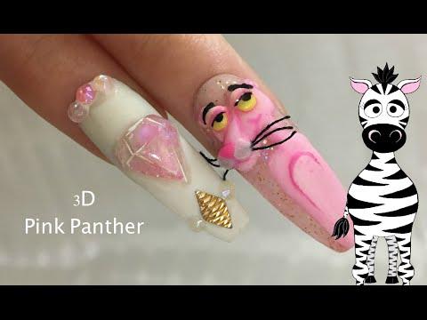3D Pink Panther And Diamond Acrylic Nail Art Design Tutorial