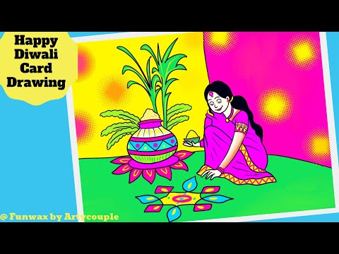 Happy Diwali greeting card drawing | Durga Navratri | Rangoli design