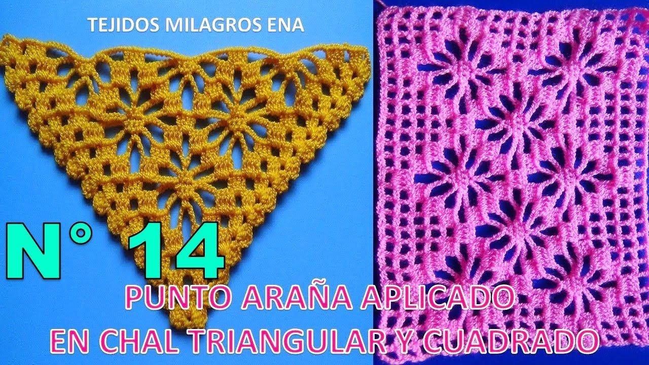 Chal triangular tejido a ganchillo y cuadrado tejido a crochet paso ...